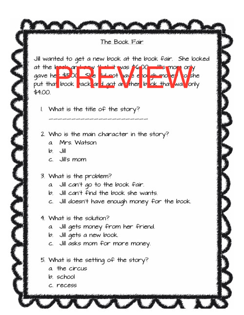 Story Elements , Problem/Solution Assessment