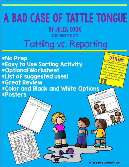 A Bad Case of Tattle Tongue by Julia Cook Book Companion LOW PREP Sorting Activity