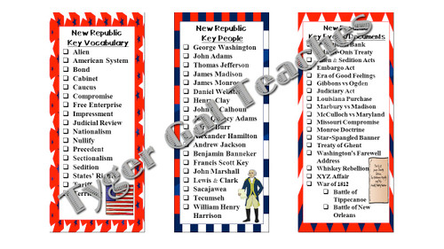 Checklists/Bookmarks (Bundle)-All Early U.S. History Units (1607-1877)