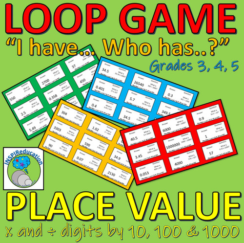 """Place Value - Math: Multiplying and Dividing by 10, 100 and 1000 (""""I have...Who has..?"""" Card Game) 36 Cards"""