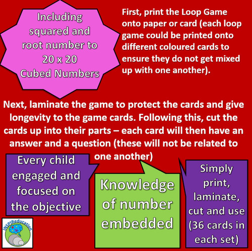 """Math - Squared, Cubed and Root Numbers - Card Game: """"I have...Who has..?"""" 36 Cards"""