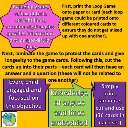 """Angles and Lines - """"I have...Who has..?"""" Loop Game - 36 Cards exploring types of lines and angles"""