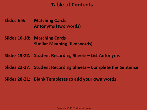 Antonyms - Activity Pack - Matching Activities, Student Response Sheets + More