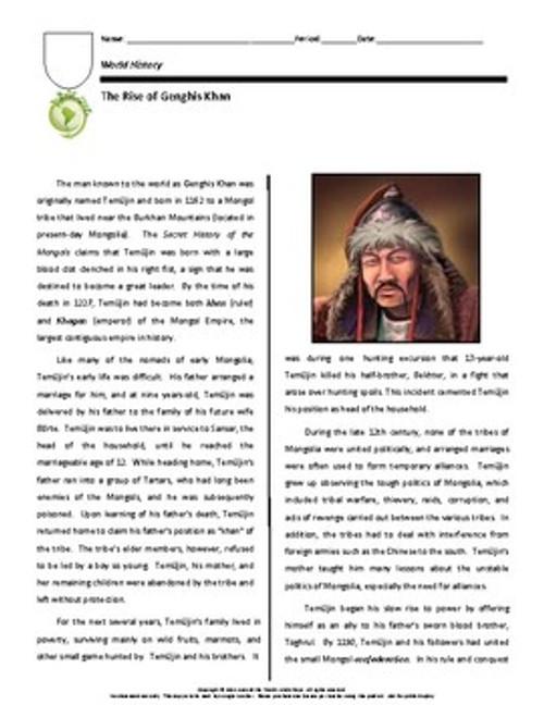 Biography Bundle: Genghis Khan (Distance Learning Option)