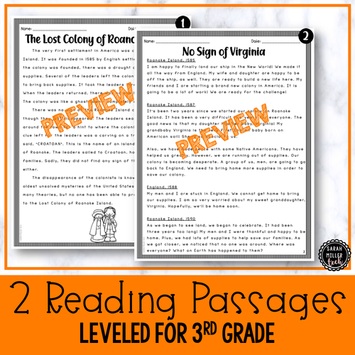 Paired Text Reading Activity | Lost Colony of Roanoke Island