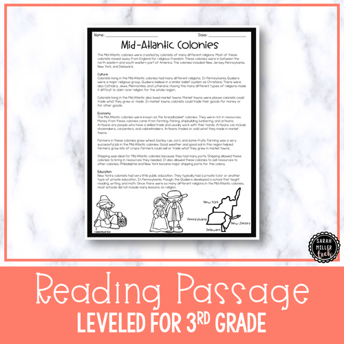 Mid-Atlantic Colonies | Reading Activity Packet