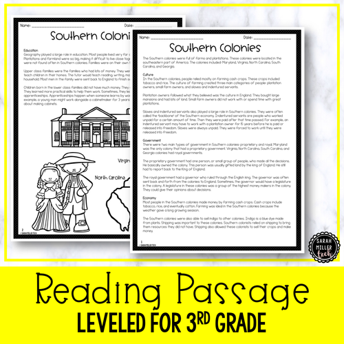 Southern Colonies | Reading Activity Packet