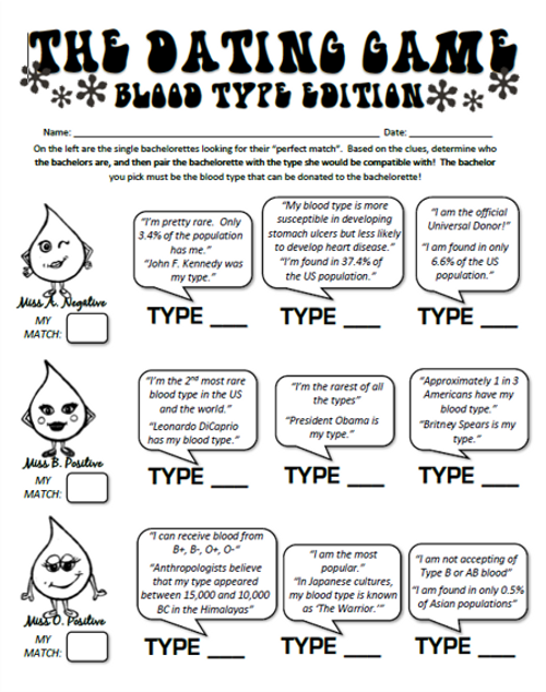 The Dating Game- Blood Type Edition!