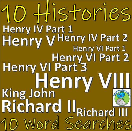 Shakespeare - The History Plays - 10 Word Searches to support spelling and character knowledge