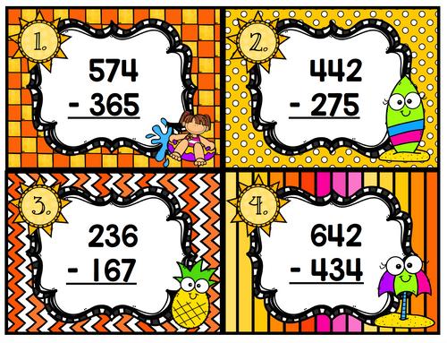 Triple Digit Subtraction Summer Task Cards Scoot