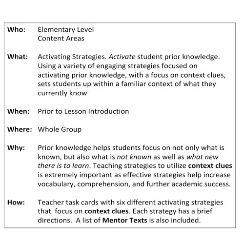 Comprehension Strategy: Context Clues: Cross-Curricular: Teacher Task Cards FREE