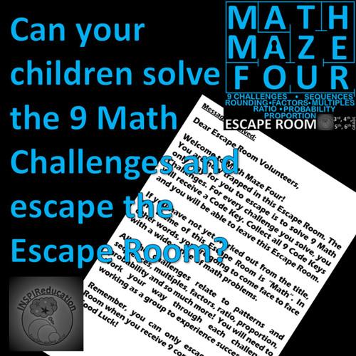 Maths Problem Solving - Number (fractions, probability, sequences), Shape, ESCAPE ROOM