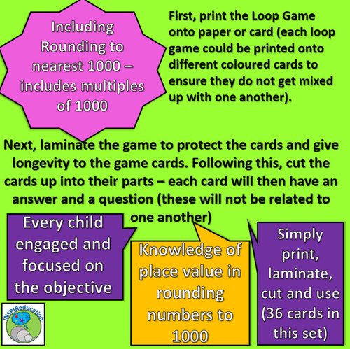 """Maths Skills - Rounding numbers to nearest 1000: """"I have...Who has..?"""" 36 cards"""