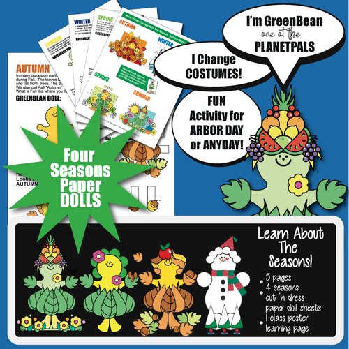 Planetpals 4 Seasons Tree Activity Paper Doll Changes 2 Summer Fall Winter Spring