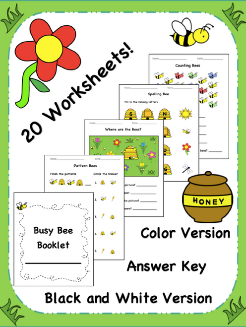 Busy Bee Booklet! A packet of 20 worksheets! Can be used for young learners to practice a variety of skills!