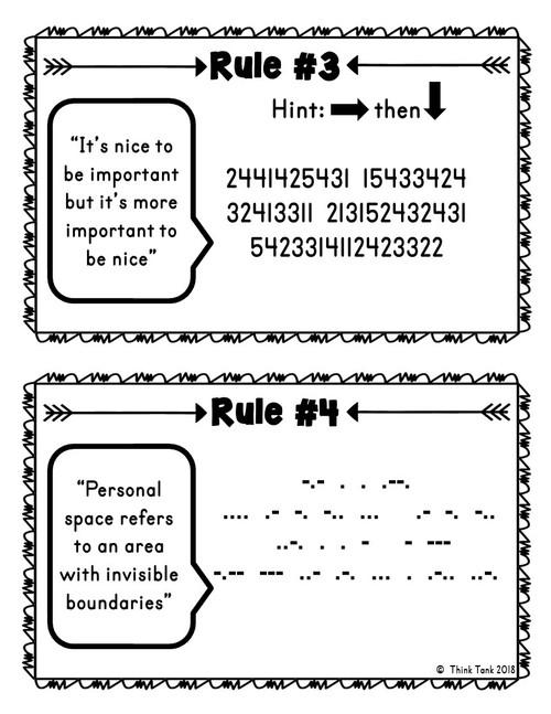 Back to School Escape Room - Classroom Rules