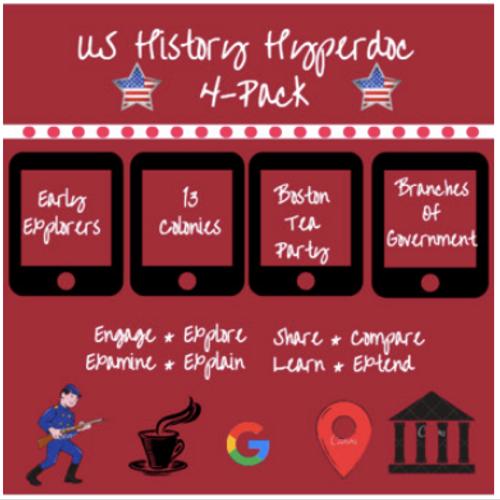 US History Hyperdoc Bundle: Colonies, Explorers, Government, & Boston Tea Party