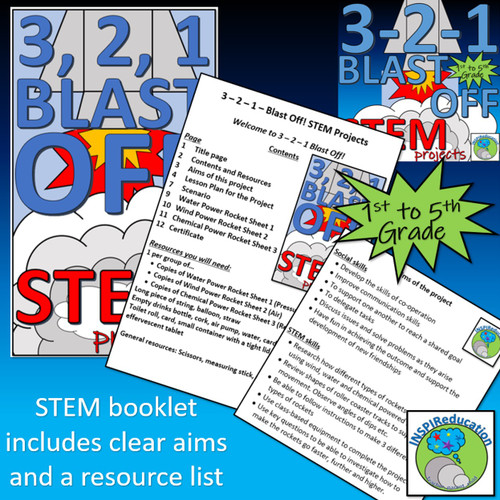 STEM: Rockets - Air, Water and Chemical Reactions (Science, lesson plans, help sheets and certificate)