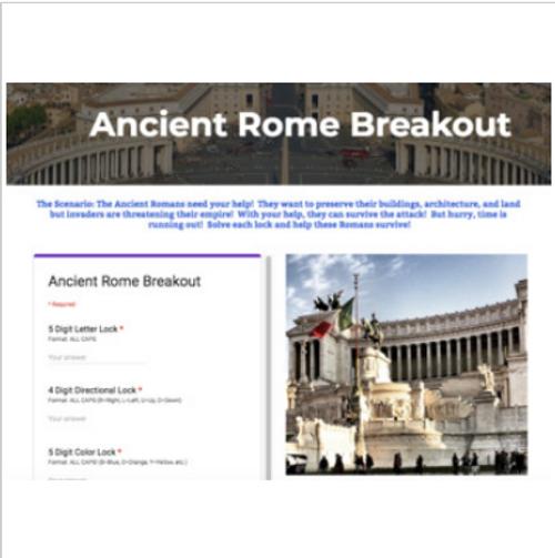 Ancient Rome Digital Breakout / Escape Room