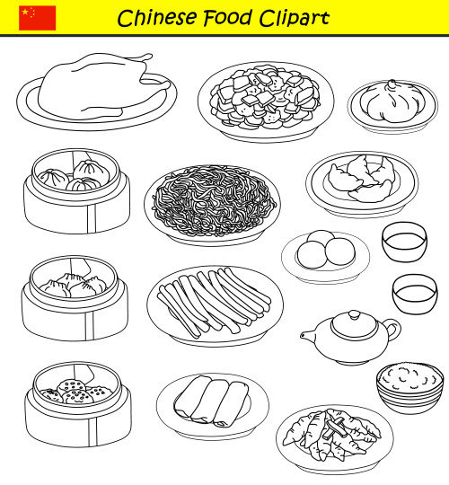 Chinese Food Clipart Set in black and white