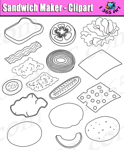 Build a sandwich clipart set in black and white