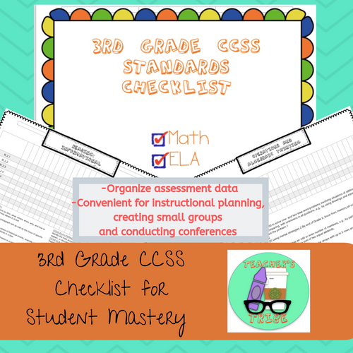 CCSS 3rd Grade Standards Checklists for Student Mastery