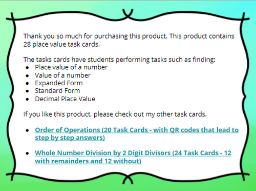 28 Whole Number & Decimal Task Cards-Standard, Word, Expanded Values w/QR Codes