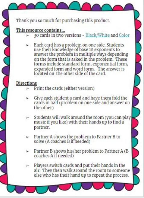 Quiz Quiz Trade- Base 10 Exponents Math Activity