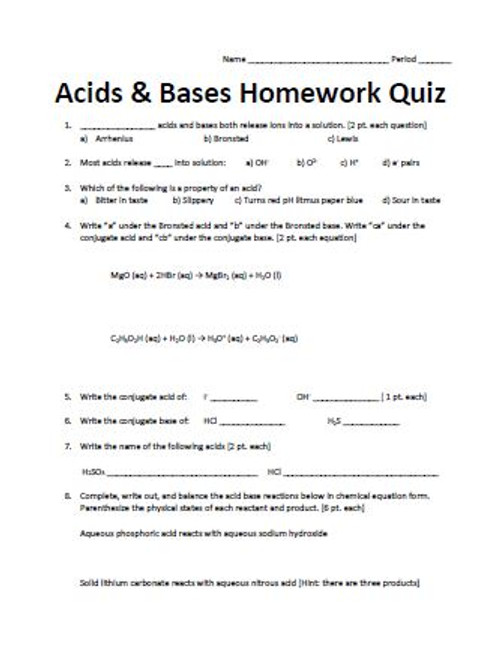 Acids and Bases Homework Quiz