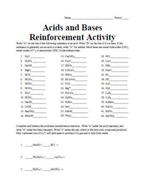 Acids and Bases Reinforcement Activity