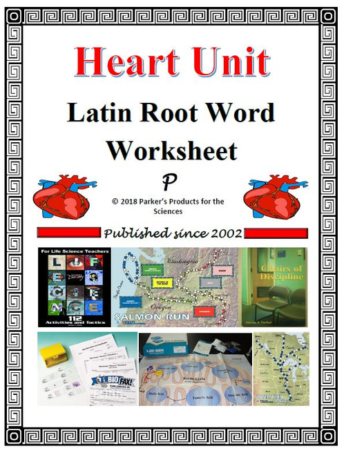 Heart Unit Latin Root Word Worksheet - FREE