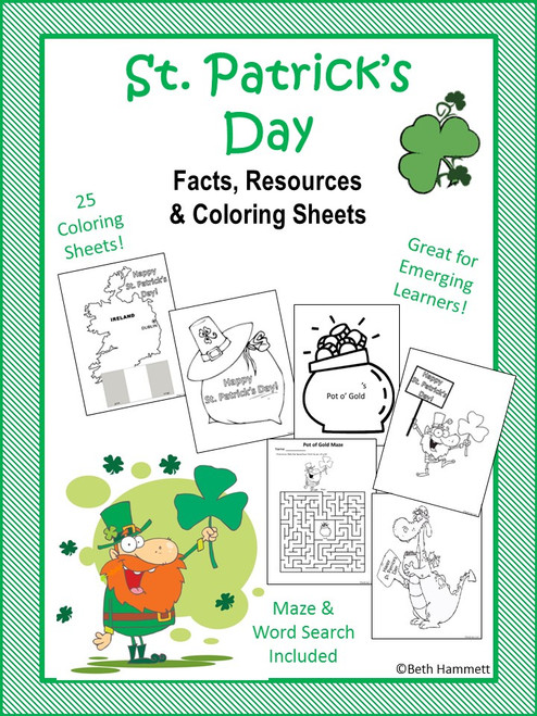 St. Patrick's Day Facts and Resources with Coloring Sheets
