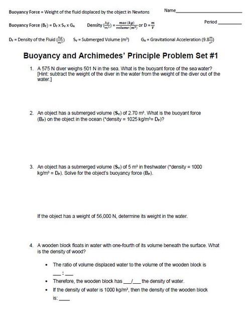 Buoyancy and Archimedes' Principle Problem Set #1