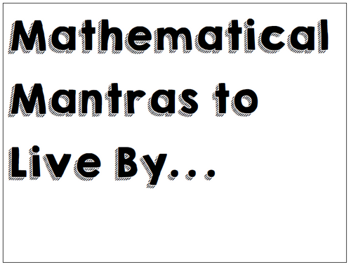 7th Grade Mathematical Mantras Posters