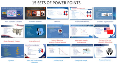 Complete Economics Course, Powerpoints Packets Tests Webquests Distance Learning 1:1