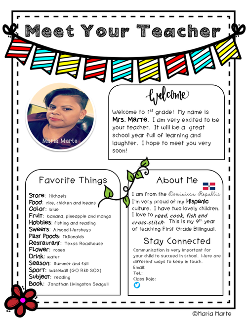 BTS Welcome Letter and All About Me for Students - bilingual