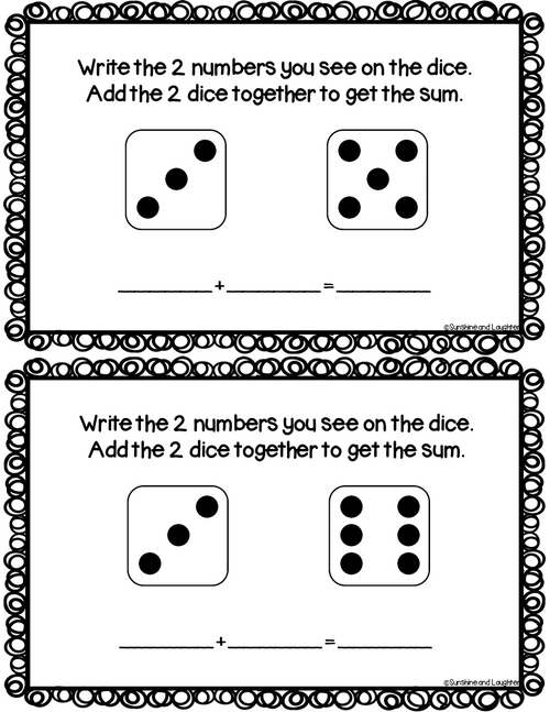 Dice Addition Task Cards - Addition to 12