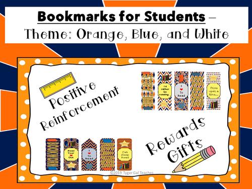 Bookmarks - Orange, Blue, and White