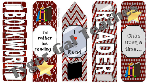 Bookmarks - Maroon, Gray, and White Theme