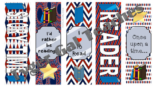 Bookmarks - Dark Red, White, and Blue