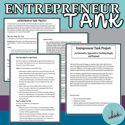 Economics Entrepreneur Tank Project for the Supply and Demand Unit