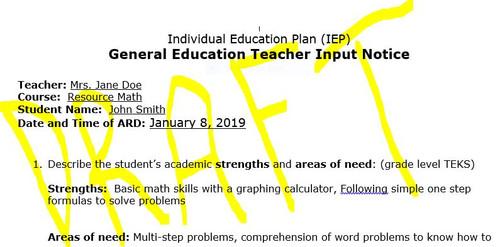 Teacher Input Form for ARD, PLAAFP