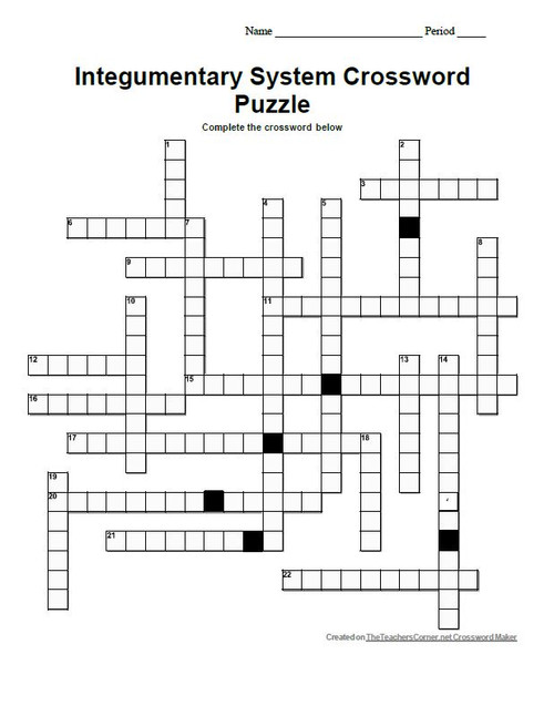 Integumentary System Crossword Puzzle - Amped Up Learning