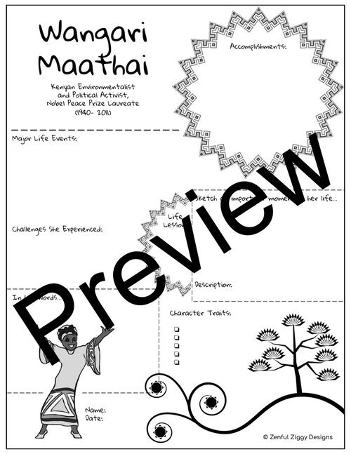 Wangari Maathai Activity Package- Printable Sketch Notes, Journals, Poster