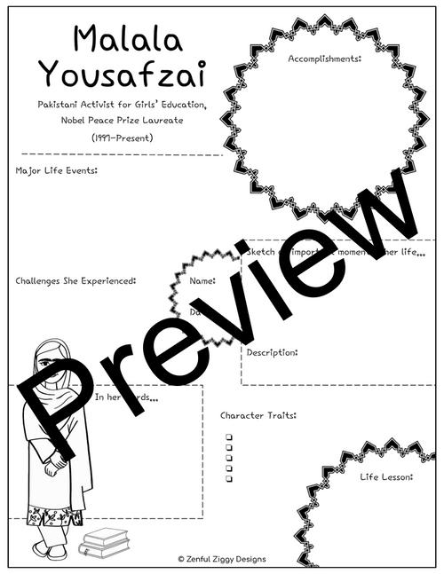 Malala Yousafzai Activity Package- Printable Sketch Notes, Journals, Poster