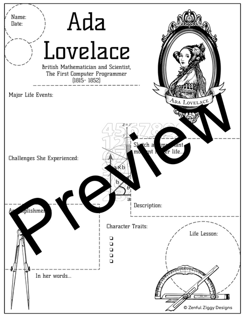 Ada Lovelace Activity Package- Printable Sketch Notes, Journals, Poster