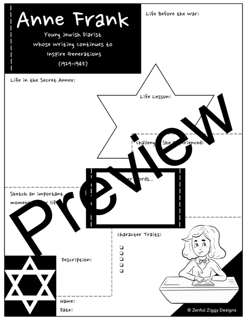 Anne Frank Activity Package- Printable Sketch Notes, Journals, Poster