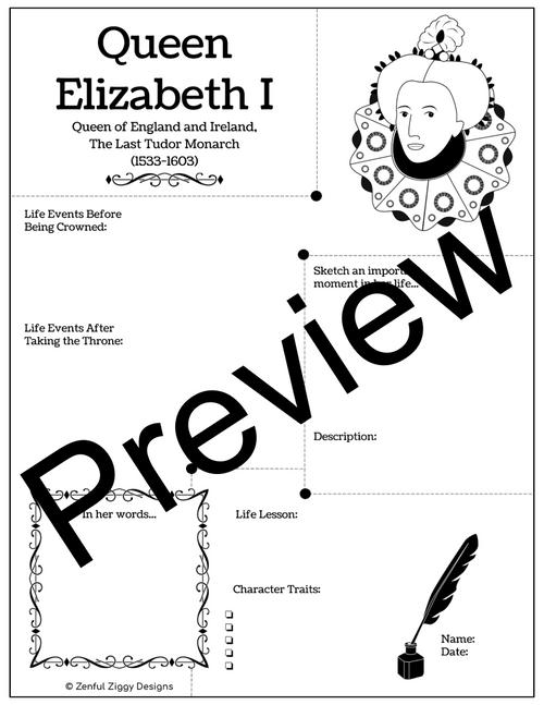 Queen Elizabeth I Activity Package- Printable Sketch Notes, Journals, Poster