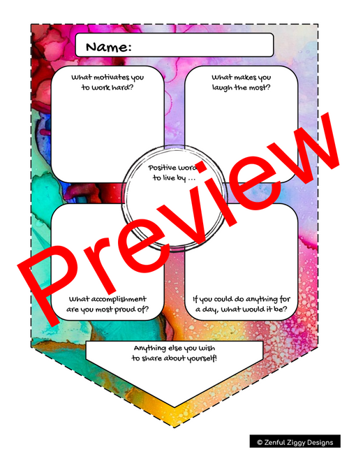All About Me Watercolour Pennant- Back to School/ First Day Activity