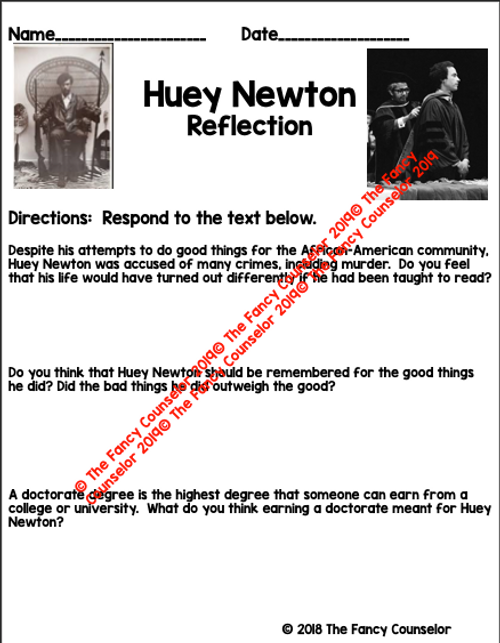 Huey Newton Black History Comprehension Reflection Discussion Activity and Lesson